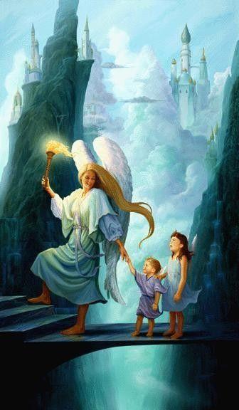 Un ange gardien accompagne des enfants sur leur chemin de lumière