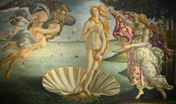 Tableau de Botticelli mettant en scène la naissance de Vénus, accompagnée d'un Ange qui souffle sur elle.
